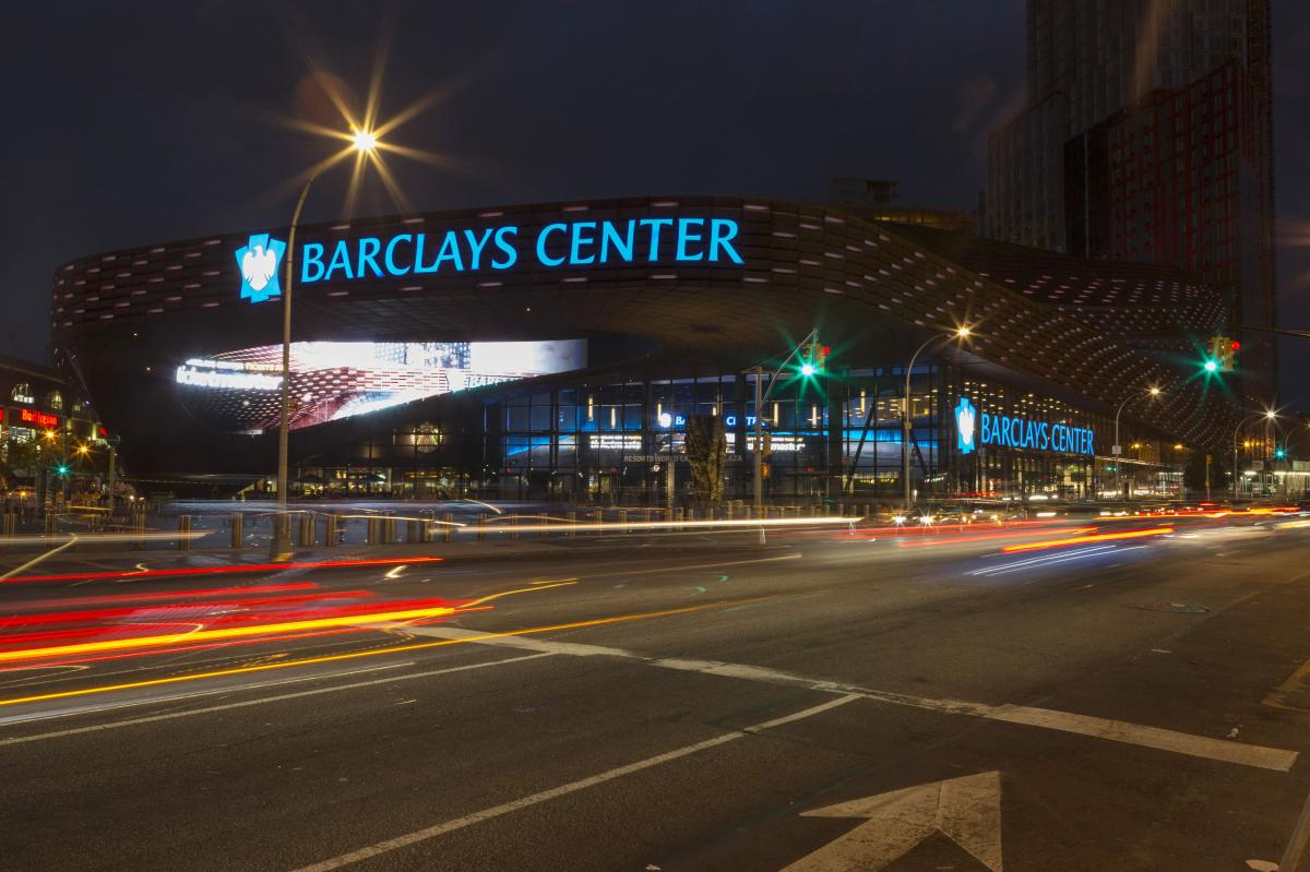 Barclays Center exterior at night
