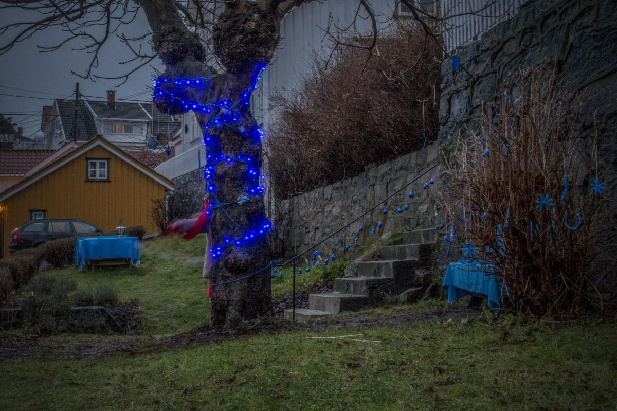 Christmas decorations in the blue park in Risør