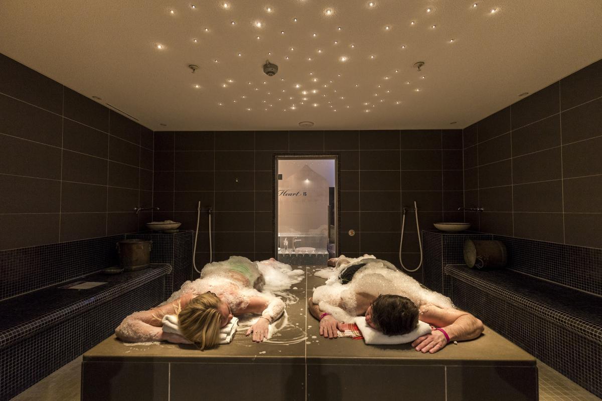 Couple getting treatment at Aquarama Spa