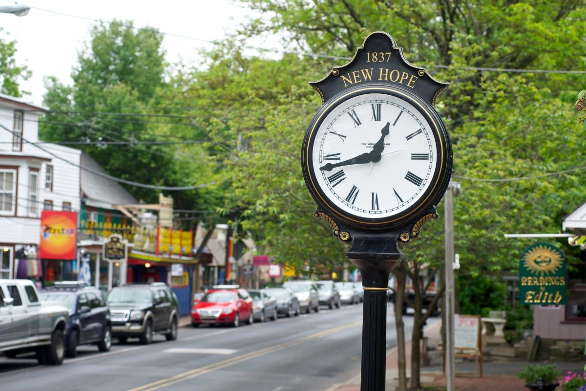 Main Street Clock in New Hope