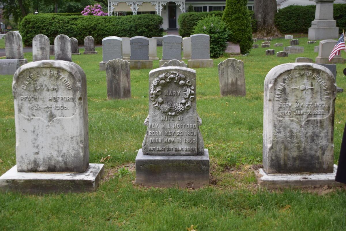 Three Tombstones in Cemetery