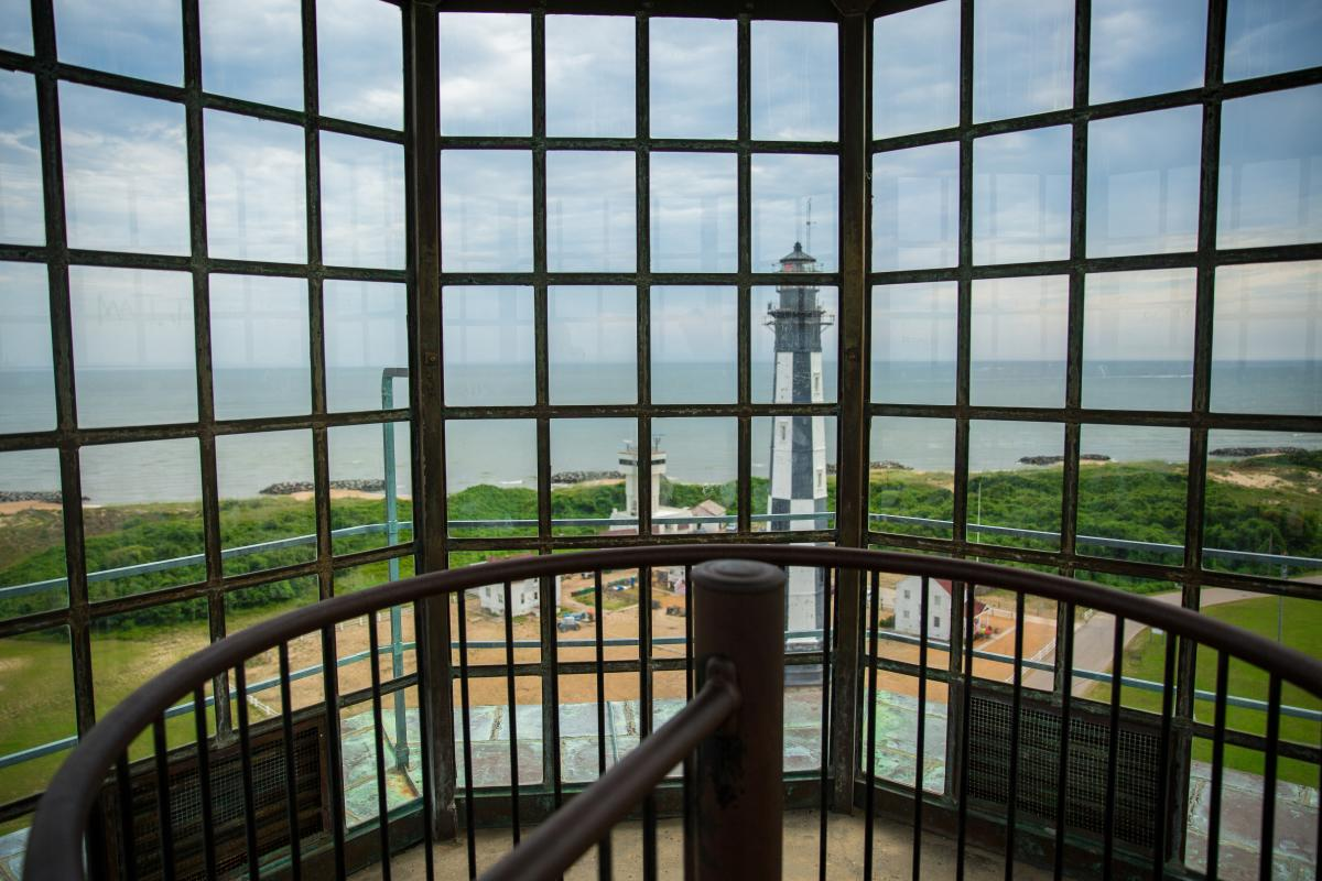 View of the ocean and Cape Henry Lighthouse