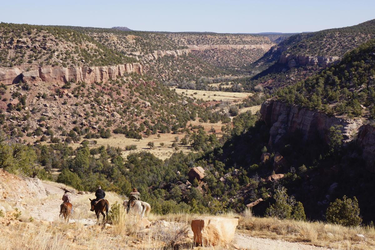 Riders descend into the newly accessible Cañon Largo