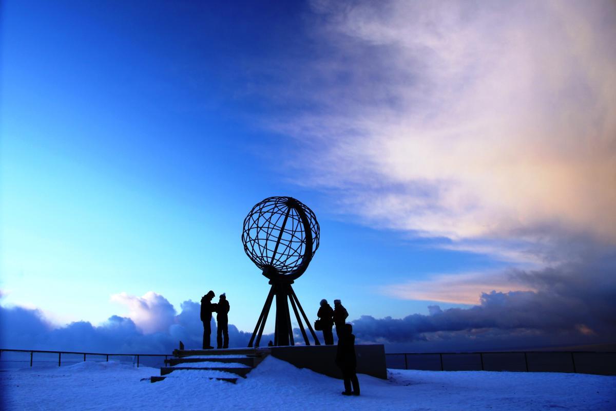 The North Cape in winter, Finnmark, Norway