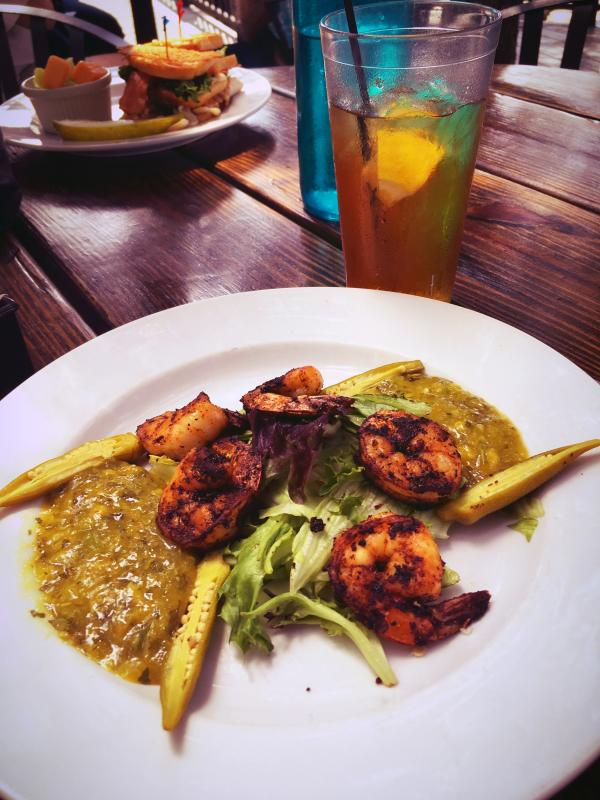 Lunch at The Deck: Blackened shrimp with mango salsa and pickled okra