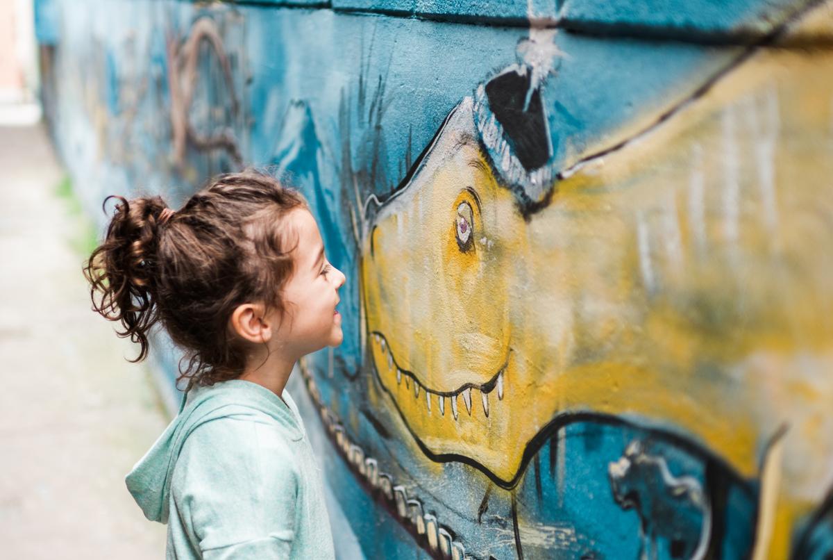 Dinosaur Mural with Girl