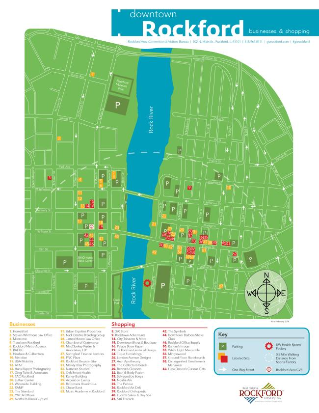 downtown map businesses & shopping