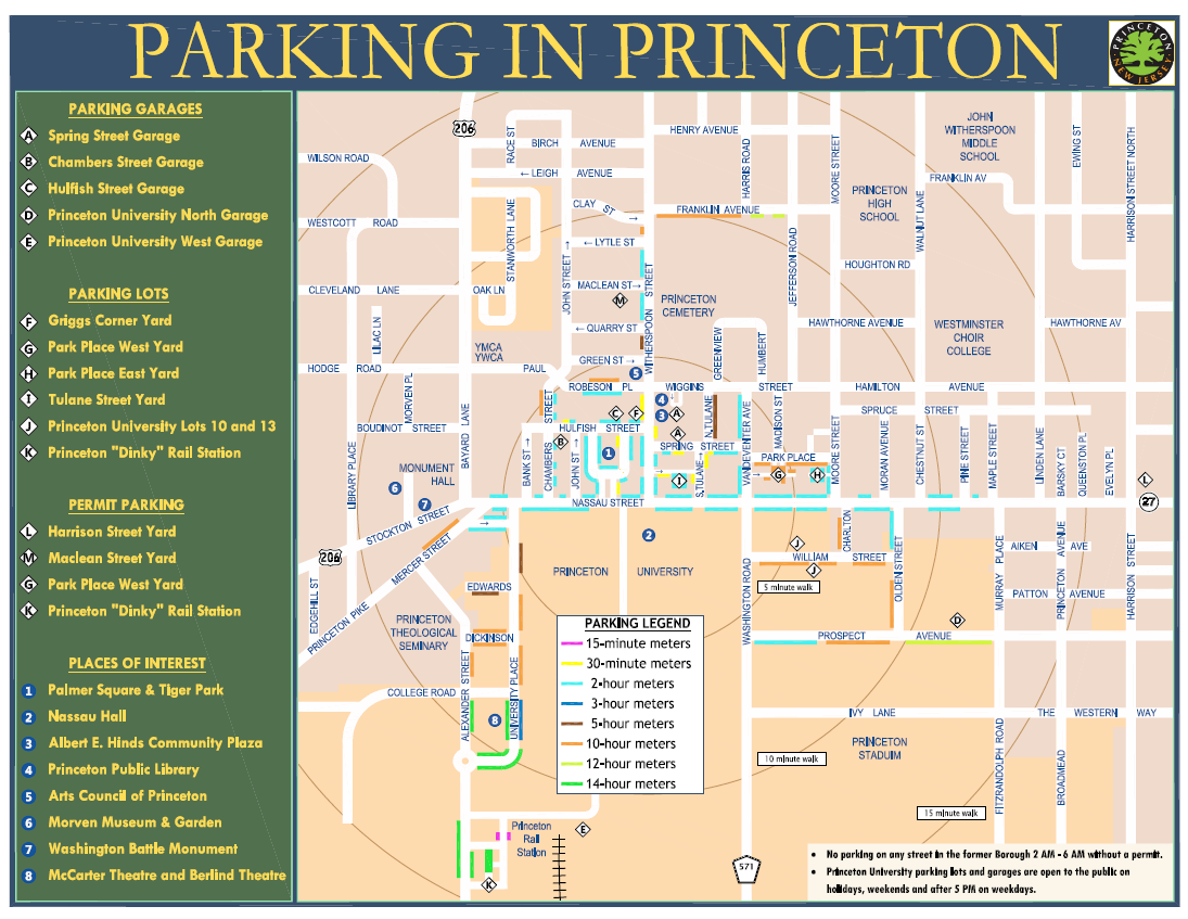 Princeton Parking Map for Permit Parking and Other Parking Lots