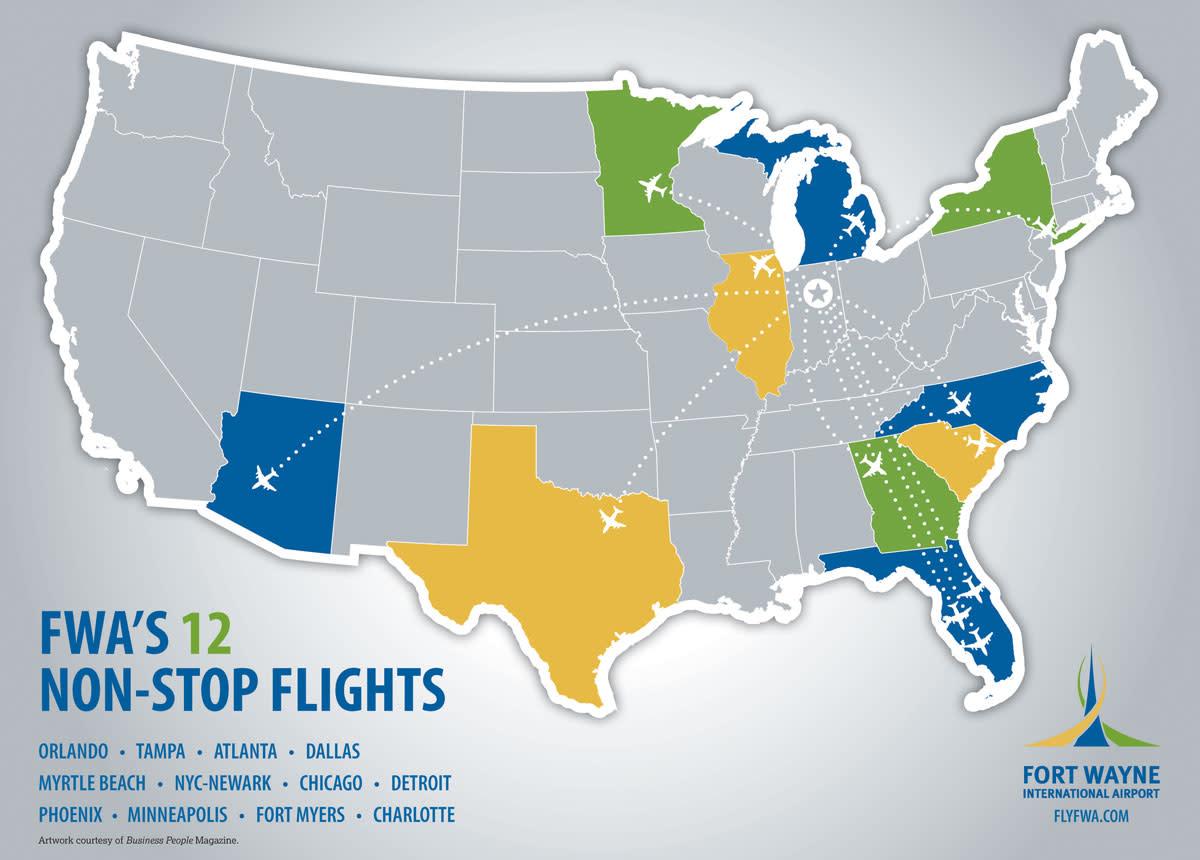 FWA Non-Stop Flights Map