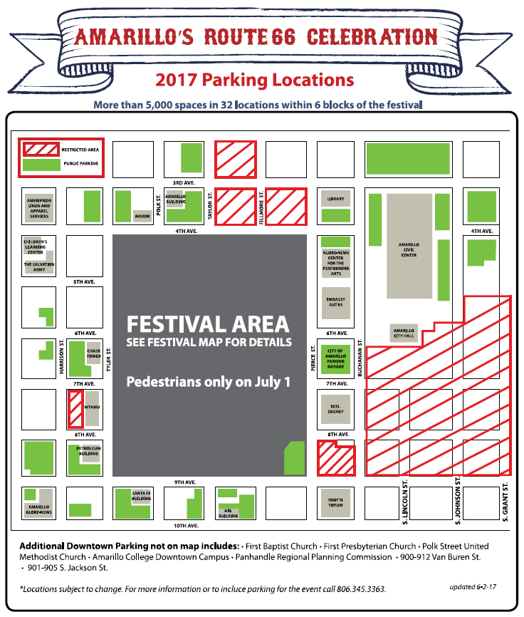 ROUTE 66 CELEBRATION PARKING MAP