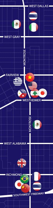 Map of Montrose Restaurants in Houston
