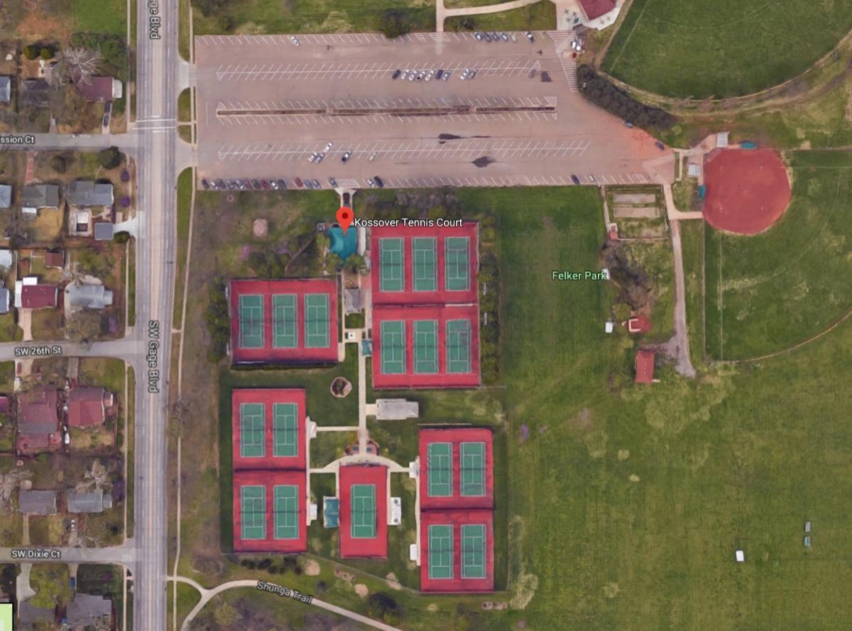 Map of Kossover Tennis Center Topeka Kansas