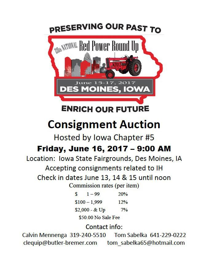 Red Power Round Up Consignment Auction Flyer
