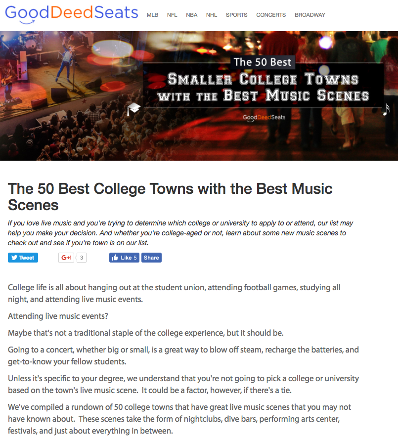 50 Best Smaller College Towns with the Best Music Scenes