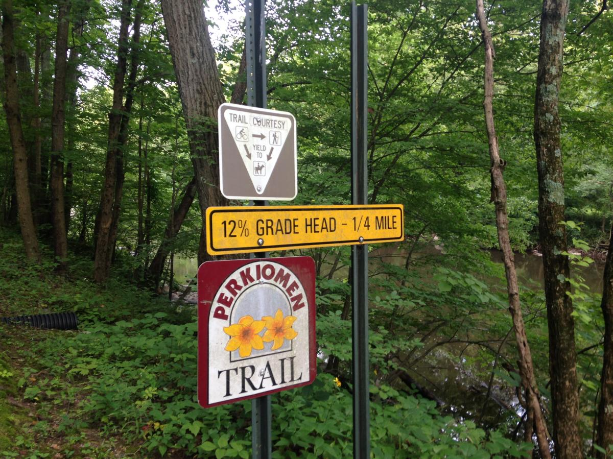 The 12% grade at Spring Mount is the hardest section of the Perkiomen Trail