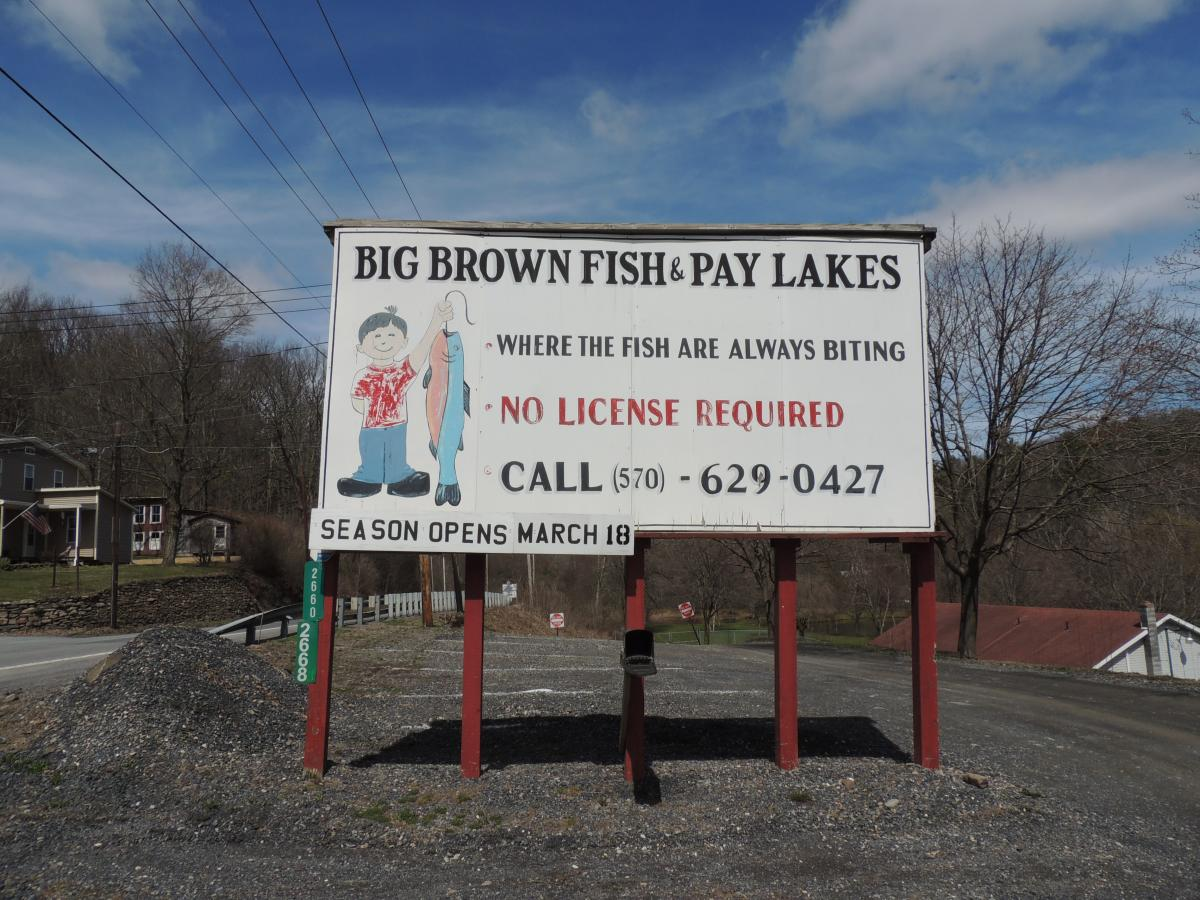 Big Brown Fish & Pay Lakes in the Pocono Mountains
