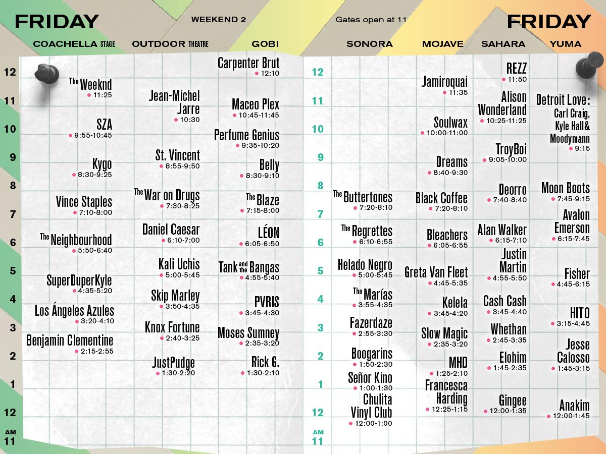 Coachella Set Times Weekend 2 Friday