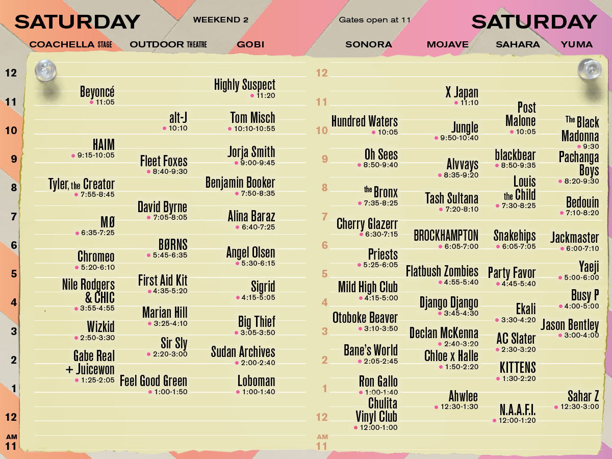 Coachella Set Times Weekend 2 Saturday