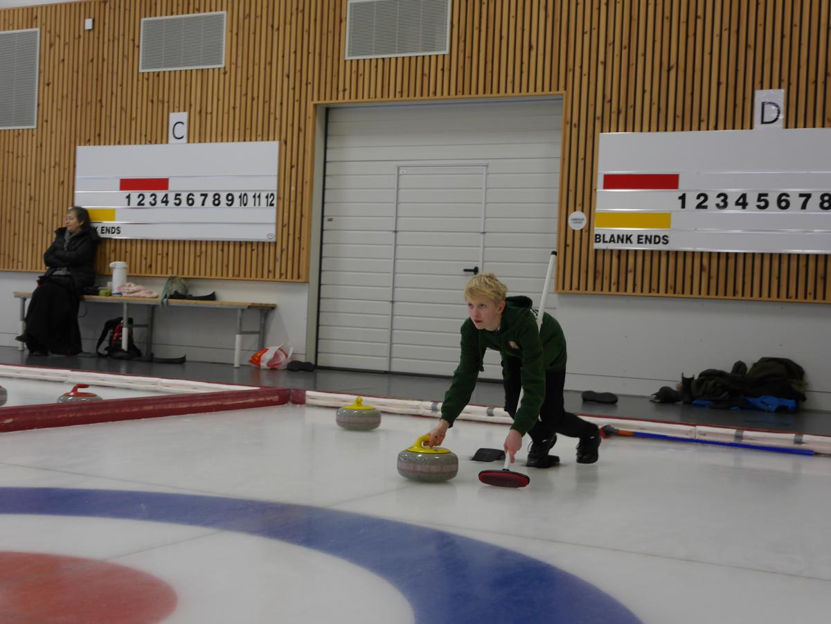 Boy curling at Idda Arena, Kristiansand