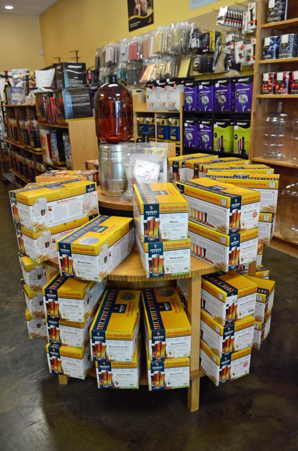 Beer brewing supplies on display at Beer & Wine Craft in Sandy Springs, Ga.