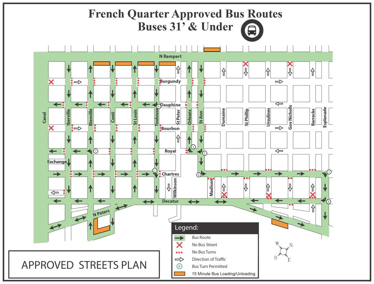 French Quarter Motor Coach/Bus Route Map