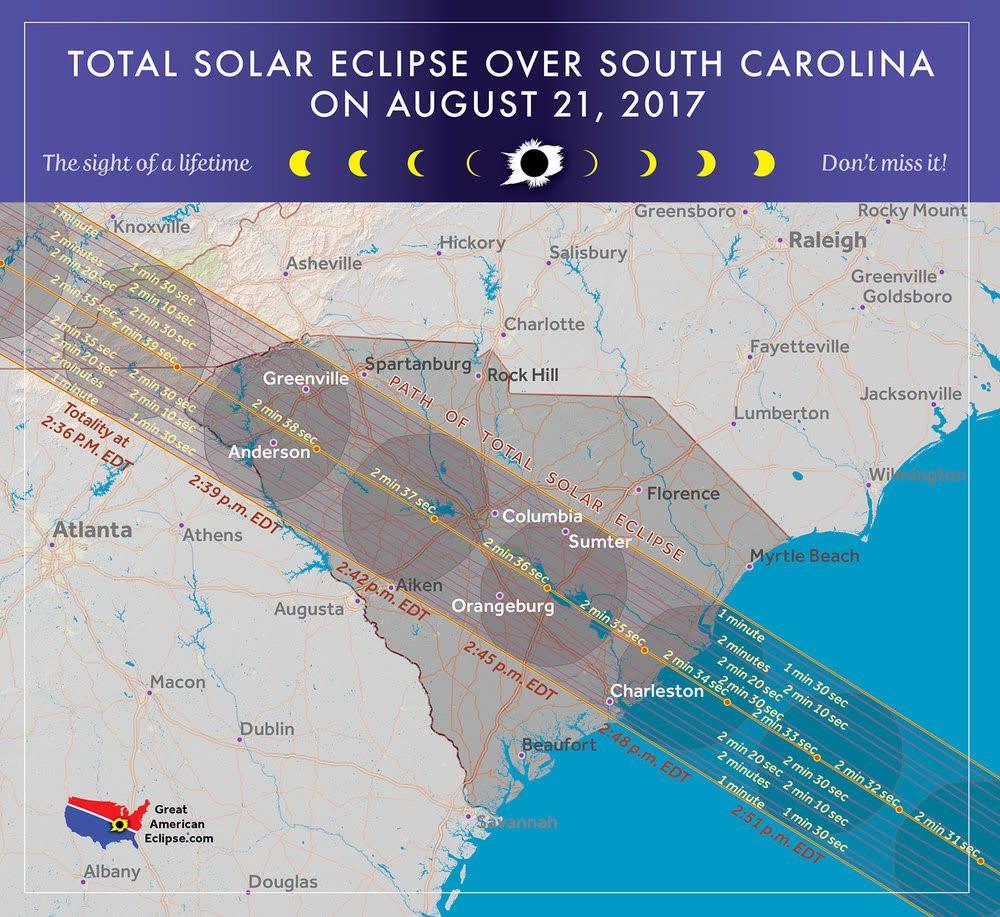 Eclipse Path Through South Carolina