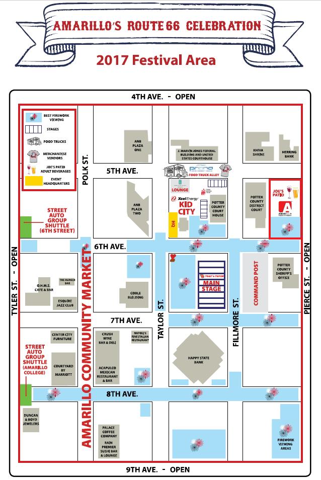 Route 66 Celebration Area Festival Map