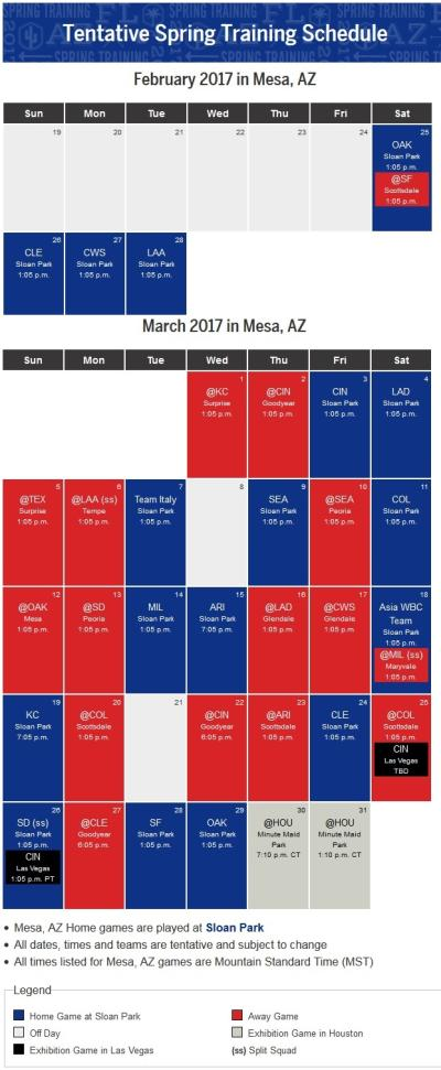 Cubs Tentative Schedule 11-28-16