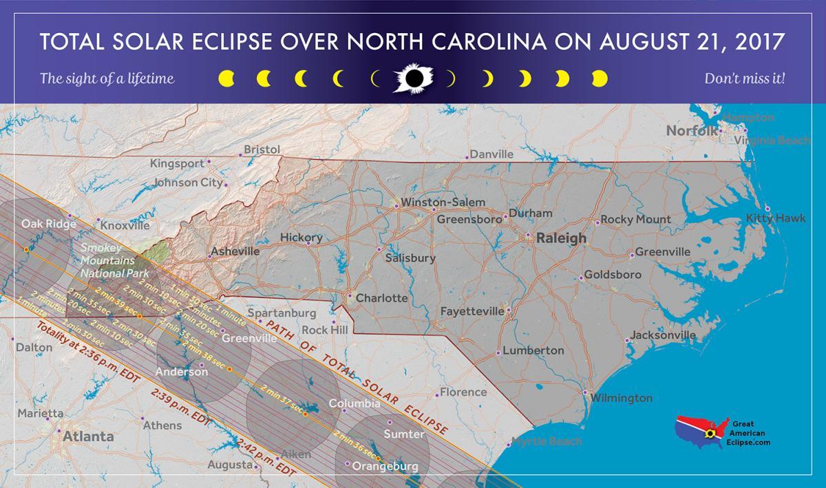 Map of 2017 solar eclipse in North Carolina