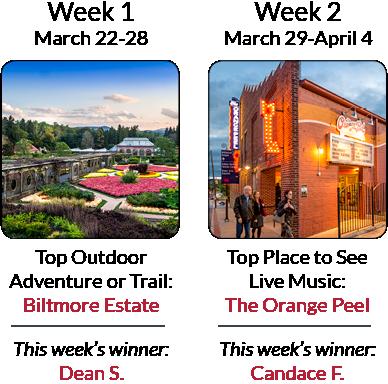 Asheville's Ultimate Top 8 Getaway Giveaway - Weeks 1 & 2