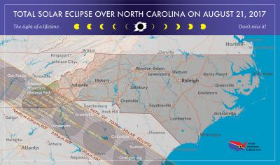 Map of 2017 total solar eclipse in North Carolina