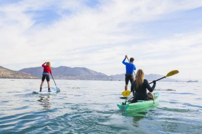 Friends Kayaking at Pismo Beach