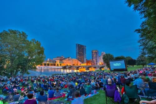 Audience at the Movies in the Park events in Grand Rapids, Michigan