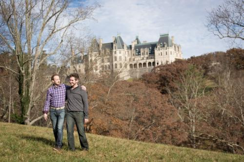 Gay Couple at Biltmore in Winter