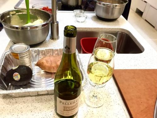 Glass of Wine While Prepping Food
