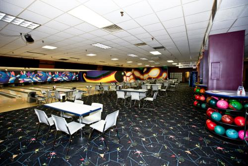 Bowling lanes inside Westgate Bowl in Grand Rapids