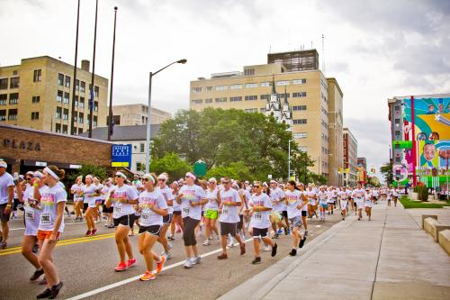 Runners during the Grand Rapids Color Run in Michigan