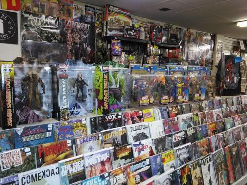 Comic books and action figures in Tardy's Collectors Corner in Grand Rapids, MI