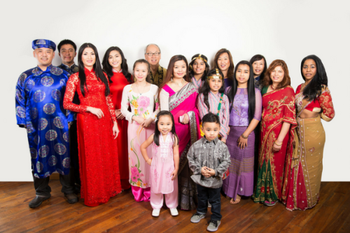 Group photo of performers at the Grand Rapids Asian Festival