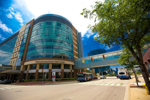 Exterior of Fred and Lena Meijer Heart Center in Grand Rapids, Michigan