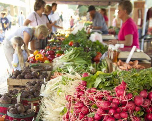 Shoppers at Farmers Market in Grand Rapids, Michigan