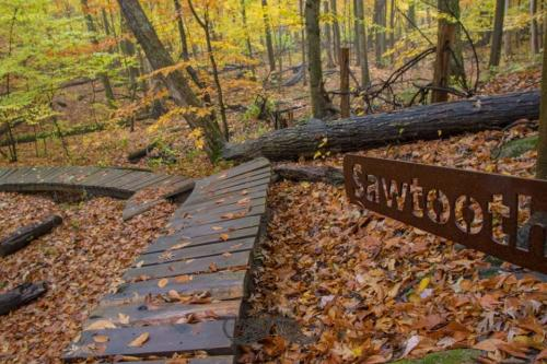 Merrell Trail Sawtooth sign in West Michigan
