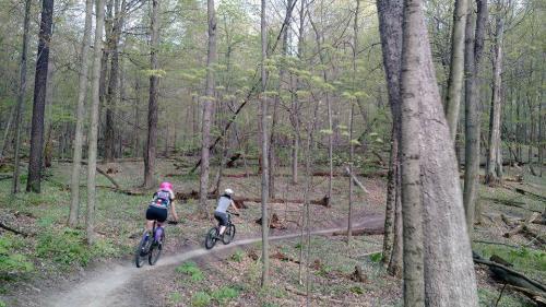 Mountain bikers on Grand Rapids bike trail