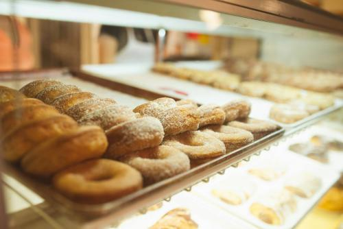 Display of donuts at Robinette's Apple Haus & Winery in Grand Rapids
