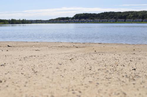 Beach and lake view at Versluis Park in Grand Rapids. Michigan