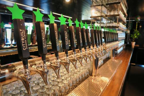 Taps at City Built Brewing in downtown Grand Rapids