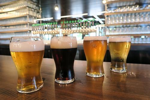 City Built Brewing beer flight