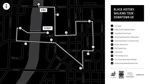 Black History Tour of Downtown Grand Rapids map