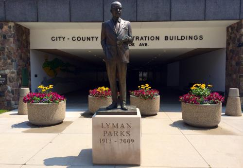 Statue of Mayor Lyman Parks, first African American mayor of Grand Rapids