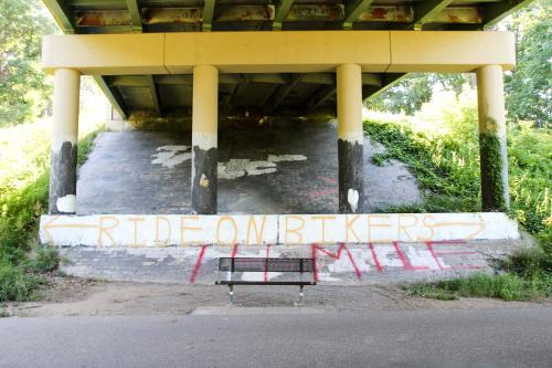 Grafitti on bridge along the White Pine Trail